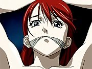 Bond anime redhead girl with a muzzle gets pumped on a desk